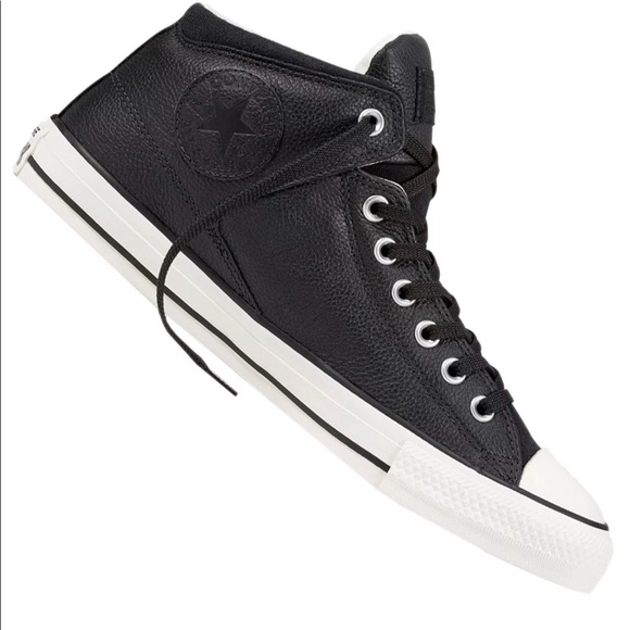 fd313f2babe Converse CTAS High Street Hi Black Leather Hi Tops